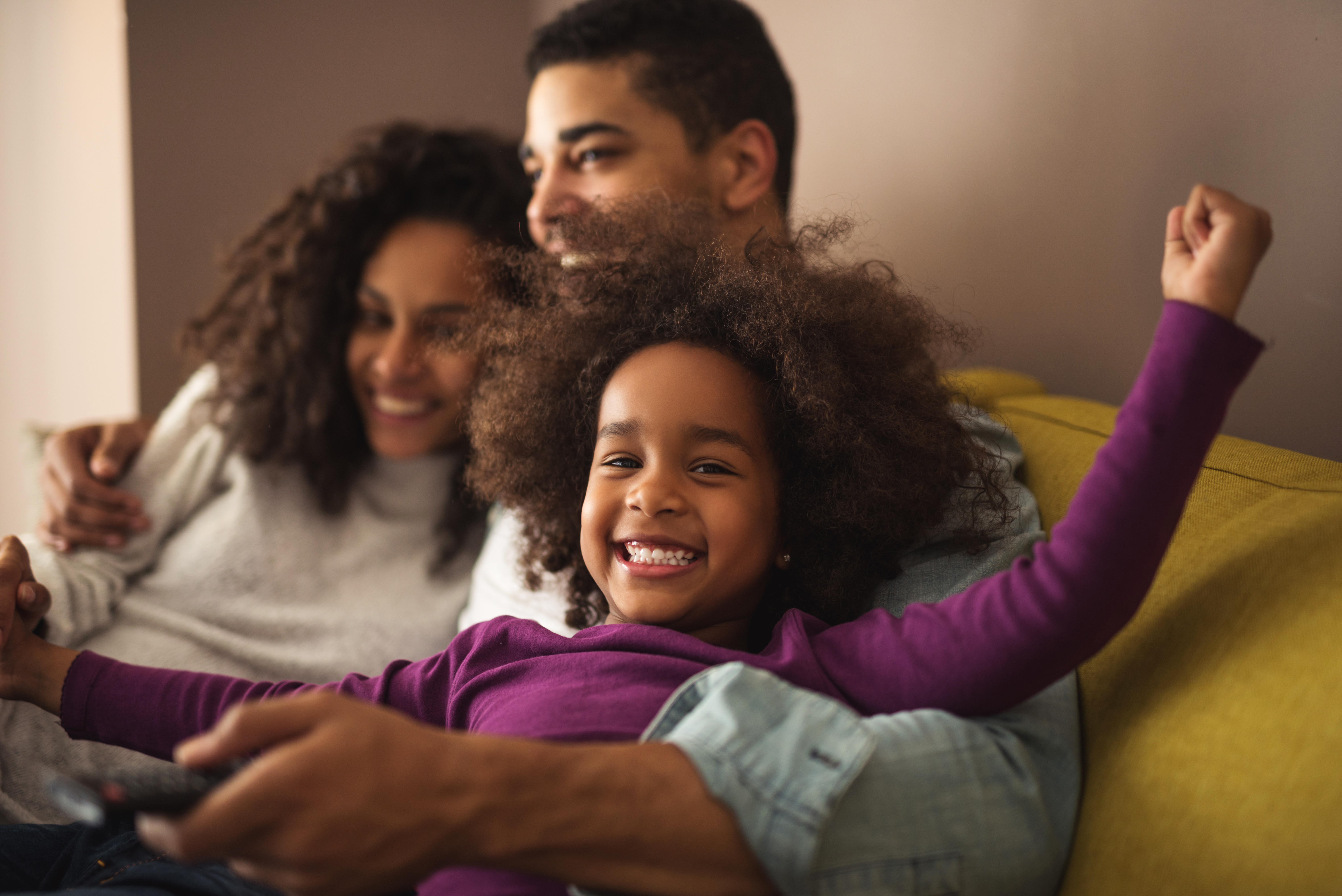 African american family spending time together at home.